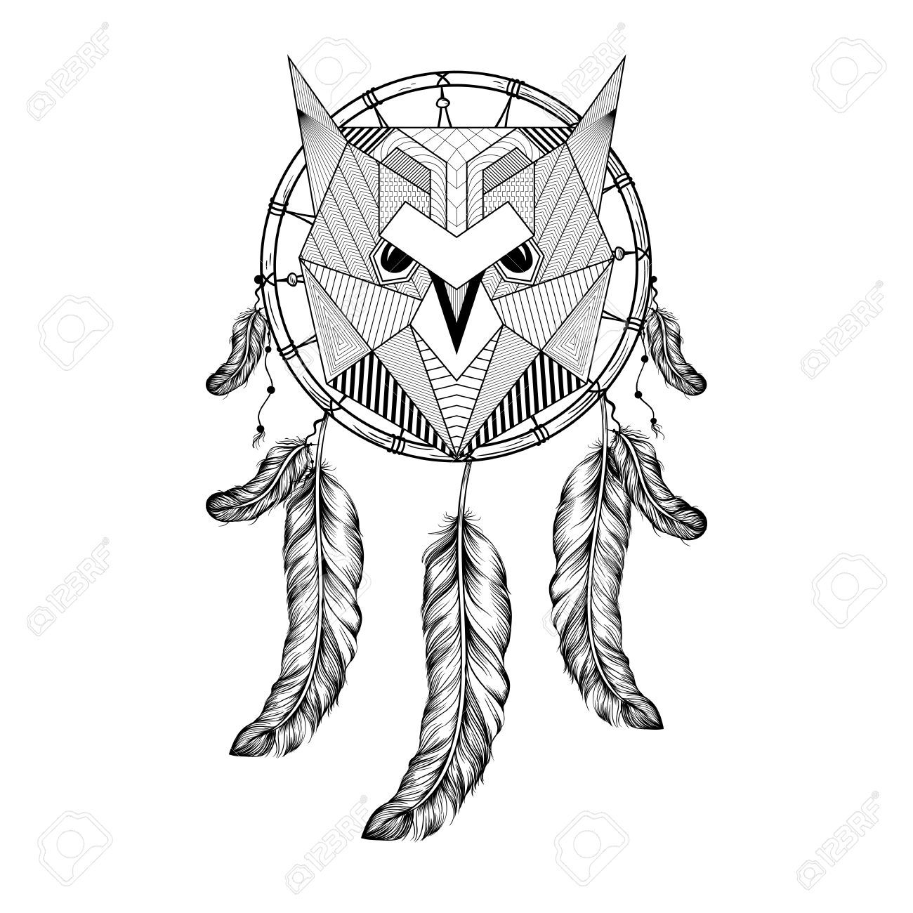 hand drawn owl bird on dream catcher with feathers for adult coloring pages art therapy
