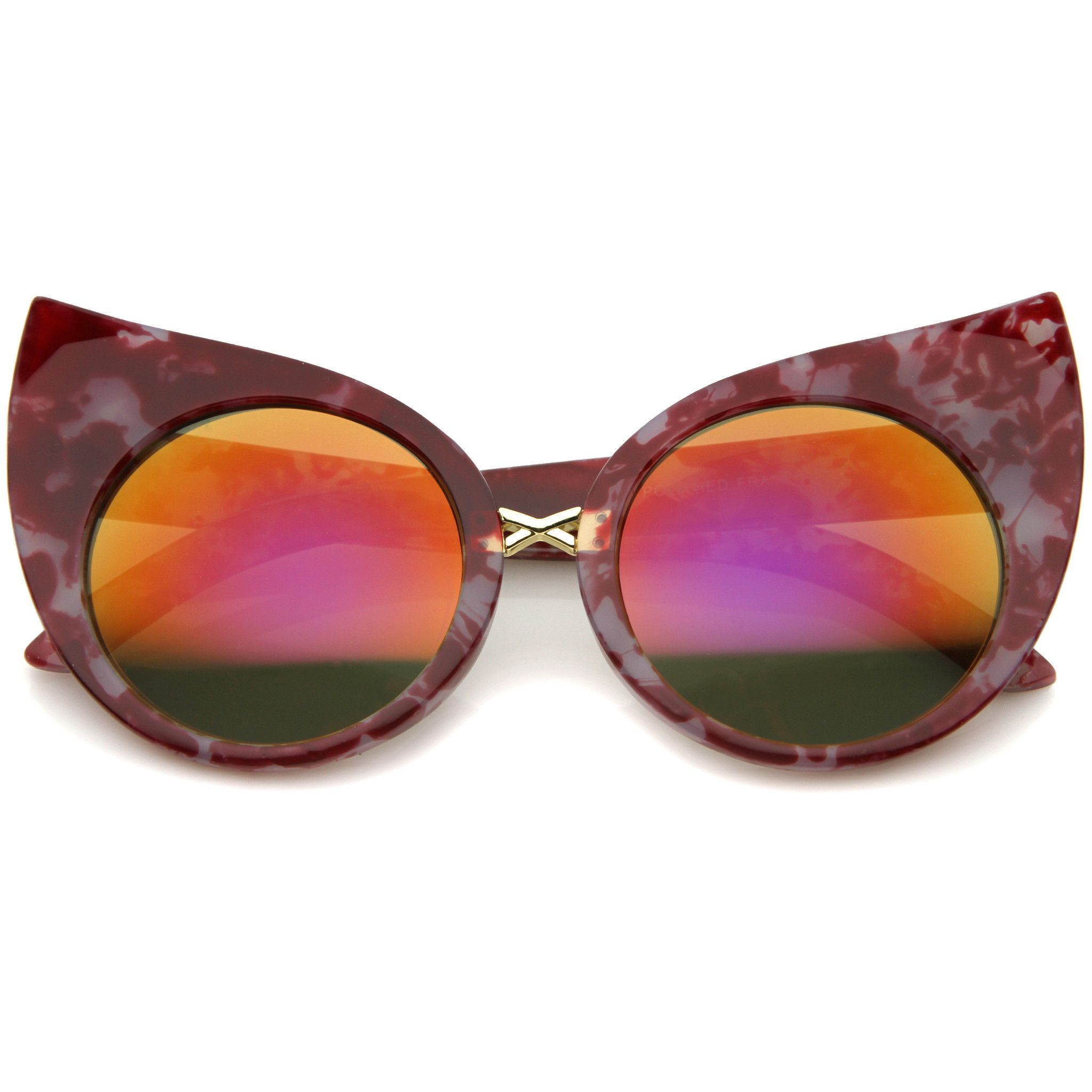 Womens Fashion Bold Marble Frame Mirrored Lens Round Cat Eye Sunglasses 51 Mm In 2020 Mirrored Lens Sunglasses Cat Eye Sunglasses Mirrored Lens