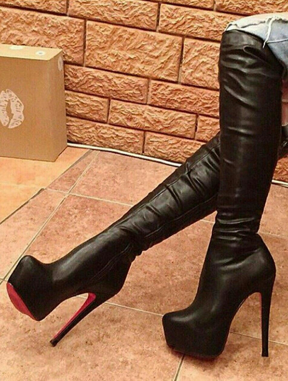These are seriously beautiful boots with red soles and