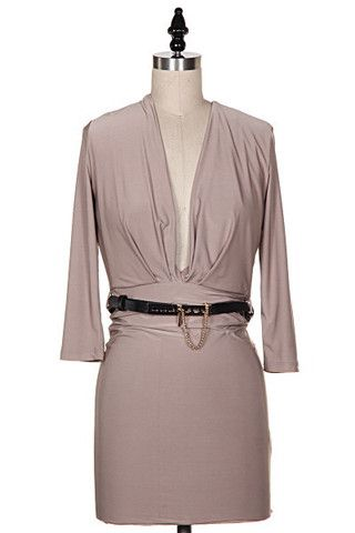 Rolling in the Deep V Open Back Belted Mini Dress - Mocha - $50.00 | Daily Chic Dresses | International Shipping
