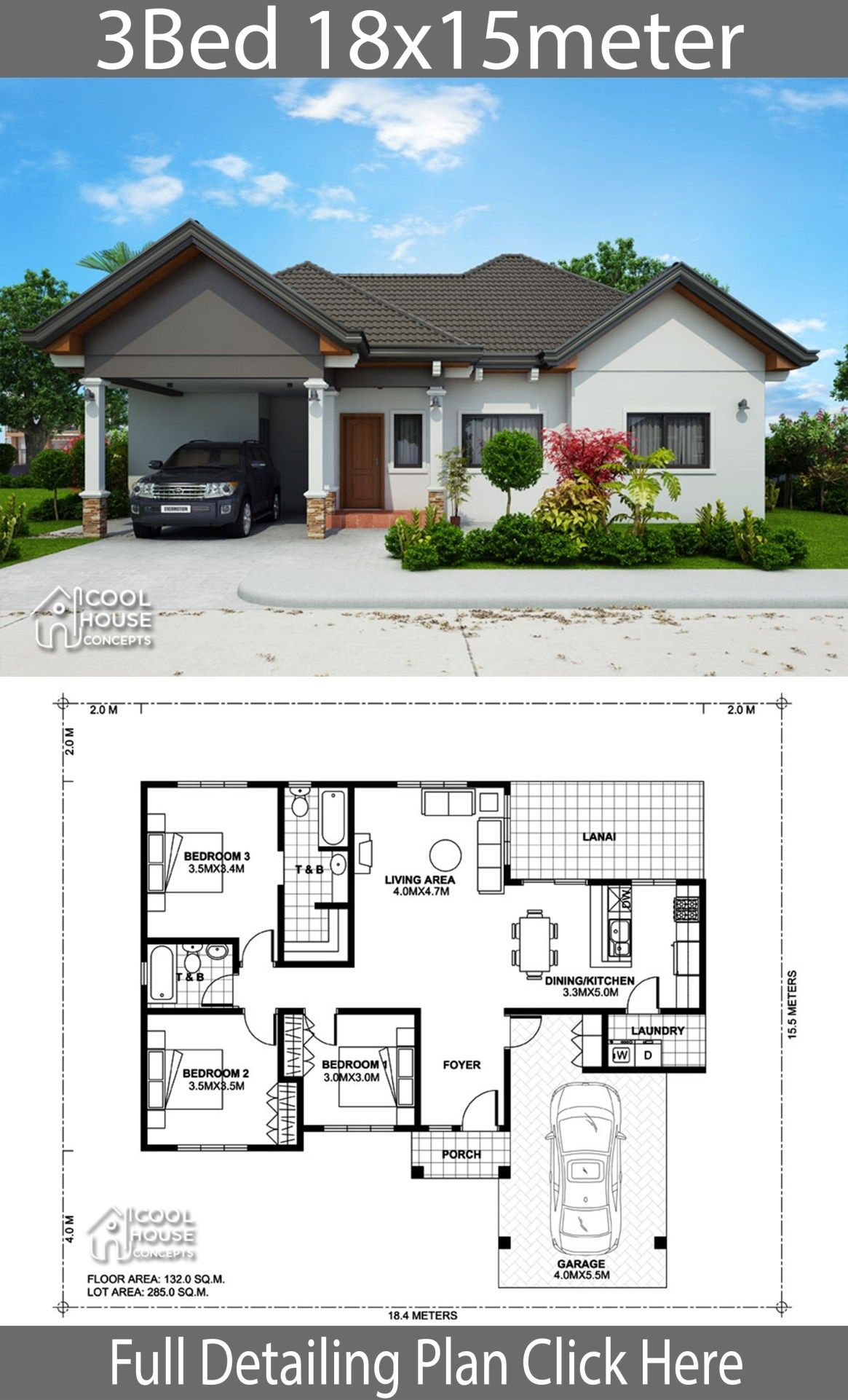 Home Design Plan 18x15m With 3 Bedrooms Home Design With Plansearch Bungalow Style House Plans Philippines House Design My House Plans