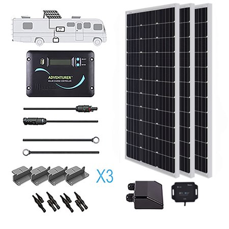 Renogy 300 Watts 12 Volts Monocrystalline Solar Rv Kit Off Grid Kit With 30a Pwm Lcd Controller Mounting Brackets Mc Solar Heating Solar Kit Off Grid Solar