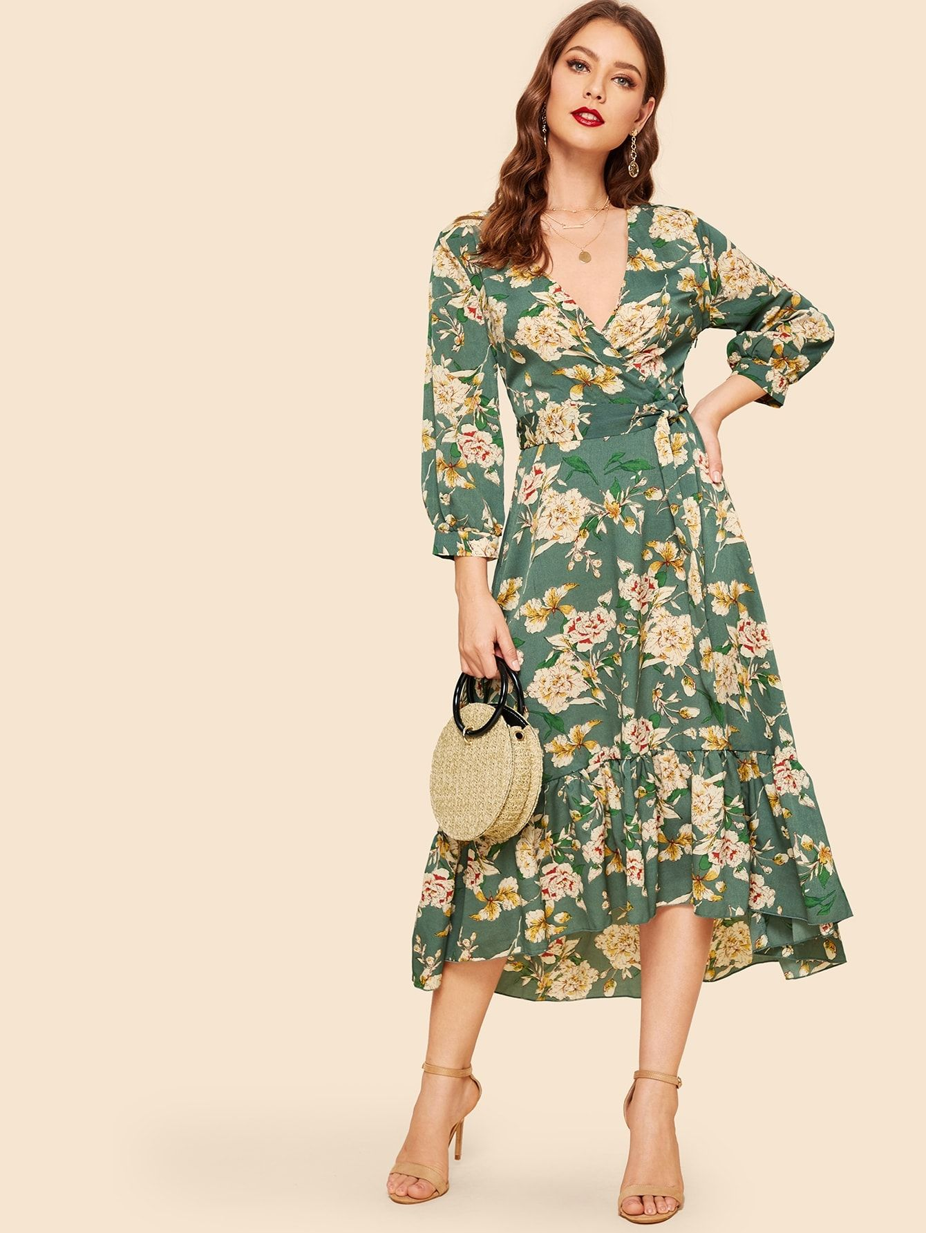 918938ac5f Elegant A Line Ruffle Hem and Belted Floral Fit and Flare Flounce V Neck  Long Sleeve Natural Multicolor Long Length Ruffle Hem Bishop Sleeve Floral  Wrap ...