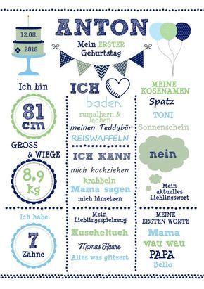 Kunstdruck Mein 1 Geburtstag Junge Din A3 Wandbild Von Wandzucker