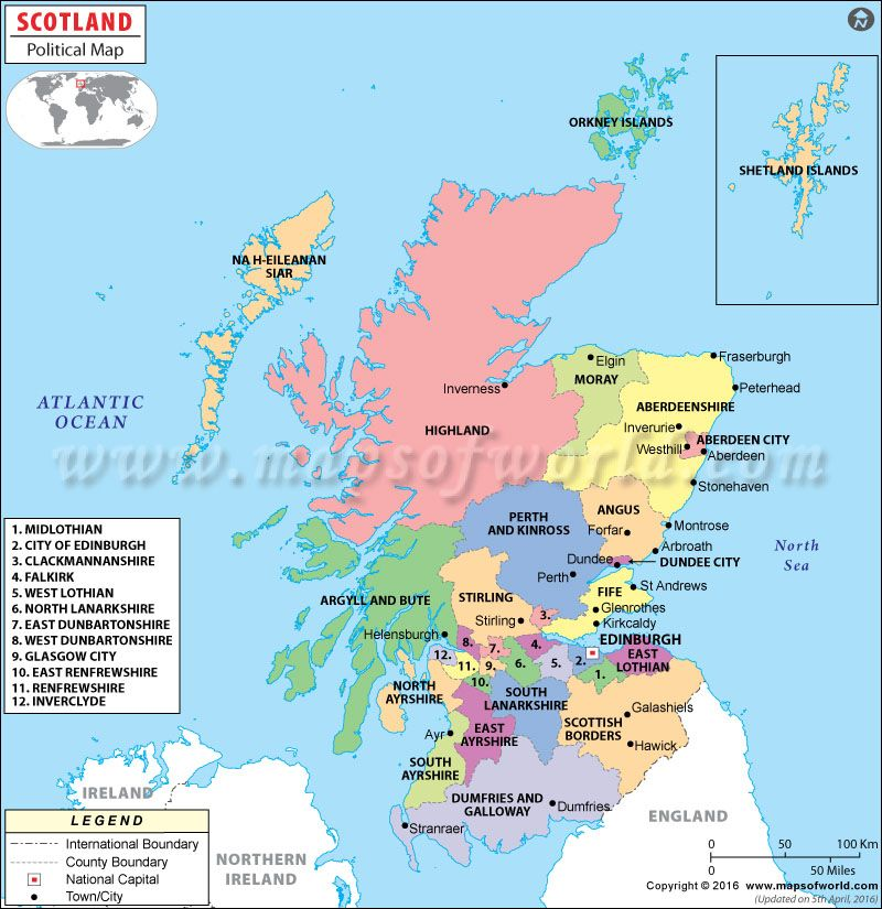 Political Map of Scotland  family  Pinterest  Scotland Ireland