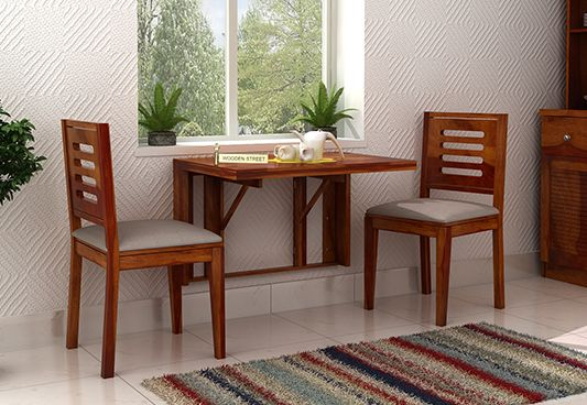 Benz Wall Mount 2 Seater Foldable Dining Set Honey Finish Space Saving Dining Table Folding Dining Table 2 Seater Dining Table