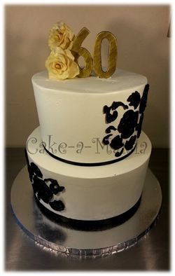 60th Birthday Cake Vintage Roses Black White And Gold Buttercream 2 Tier A Mania