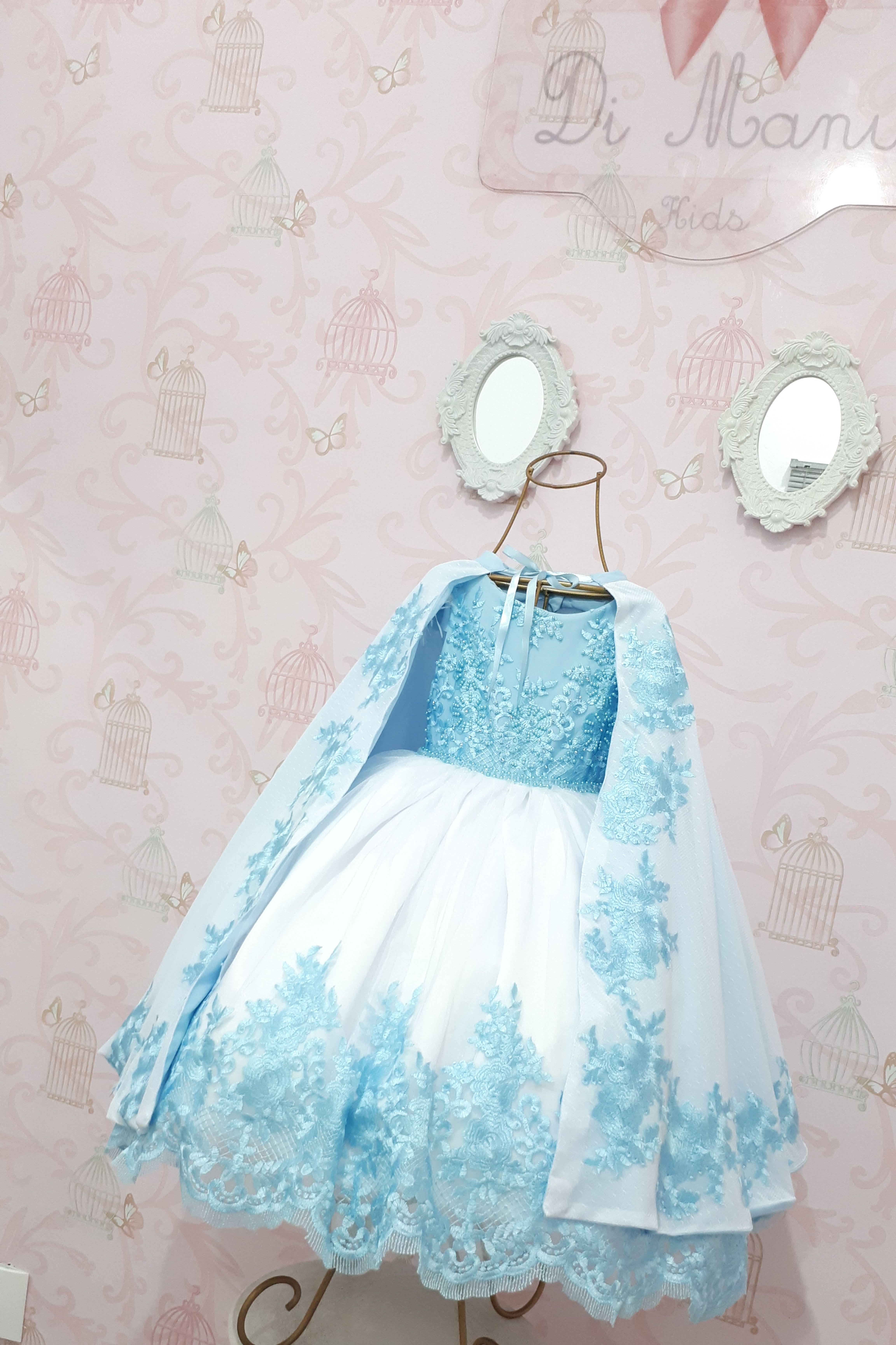 Vestido Infantil Frozen Com Capa Frozen E Capas