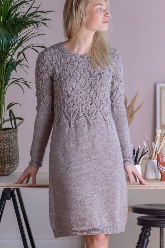 Free Knitting Pattern For A Top Down Dress With Lace Bodice - Knit Dress