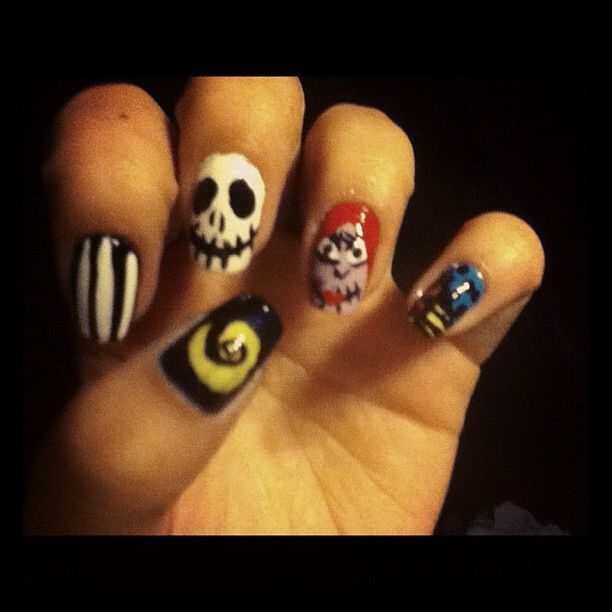 The nightmare before Christmas, jack & Sally nails | NAIL ART DONE ...