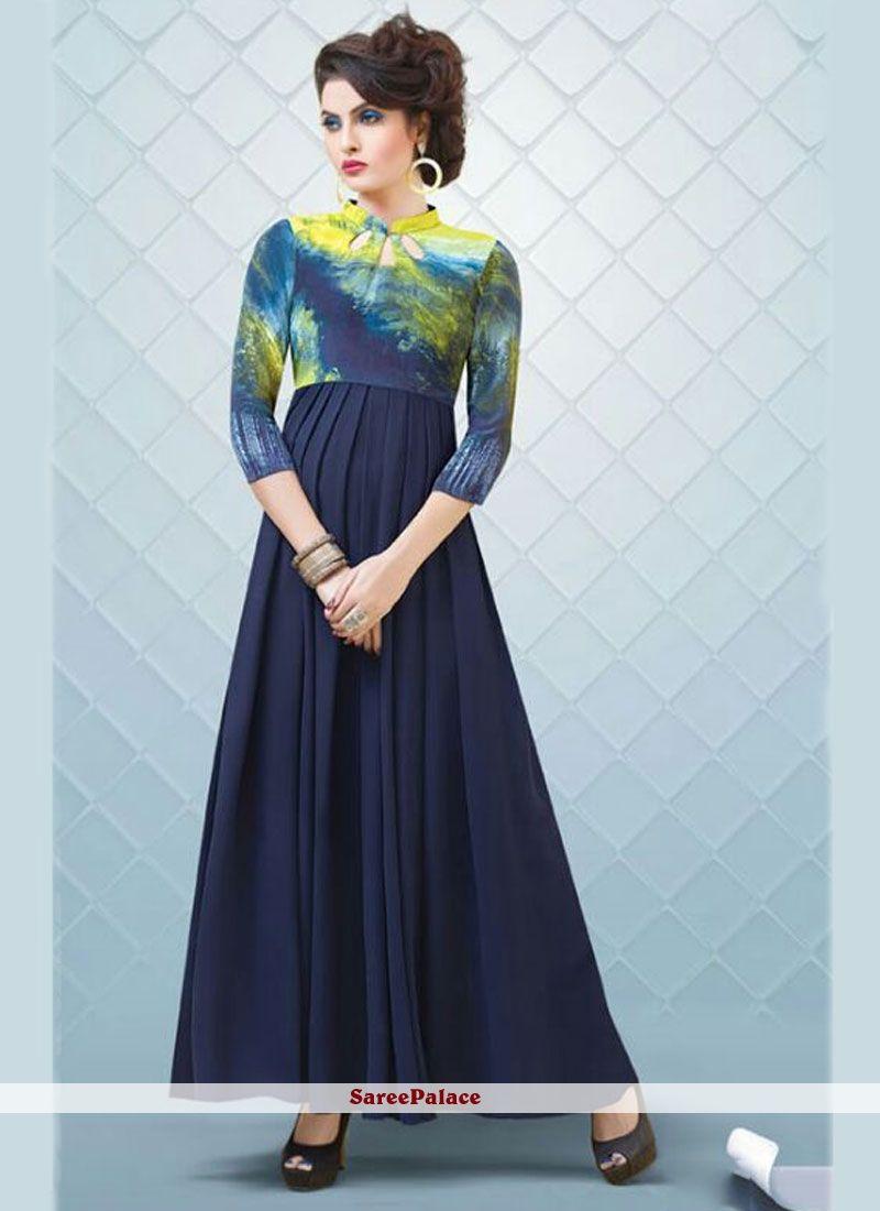 Arresting navy blue print work designer gown designer gowns