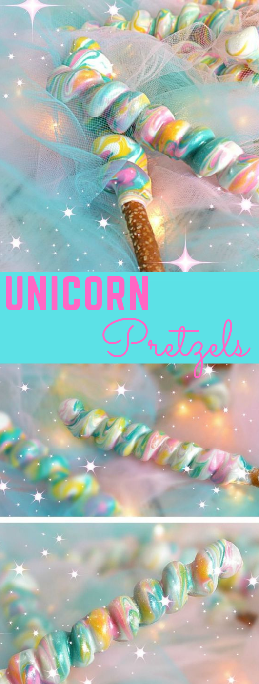 Unicorn Pretzels dessert cake - Unicorn desserts, Unicorn party, Unicorn birthday, Unicorn foods, Unicorn birthday parties, Unicorn treats - Unicorn Pretzels  These very charming pretzels will draw out the internal unicorn in everybody at the gathering! The sweet and salty kinds of these f…