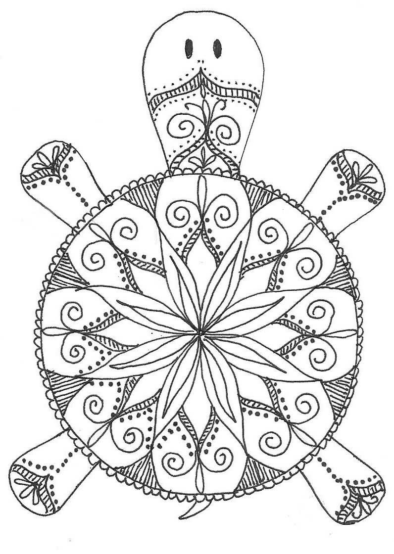Turtle Mandala Coloring Pages … | CRAFTS | Pinte…