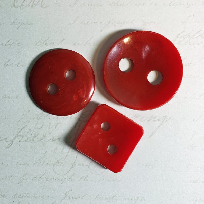 Large Red Bakelite Coat Buttons 3 Big Hole Sewing Buttons Etsy Sewing A Button Antique Buttons Bakelite