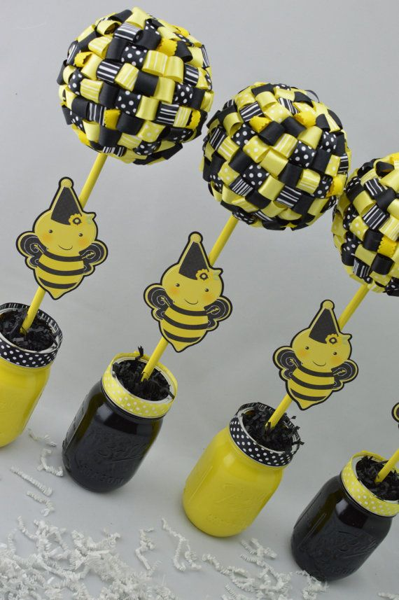 Bumblebee party decor ribbon topiary centerpieces set of for Bumble bee mural