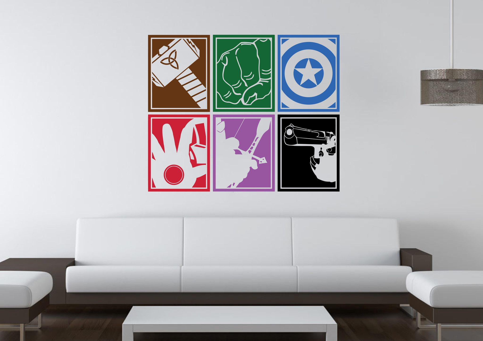 marvel avengers icon mural wall art stickers. Black Bedroom Furniture Sets. Home Design Ideas