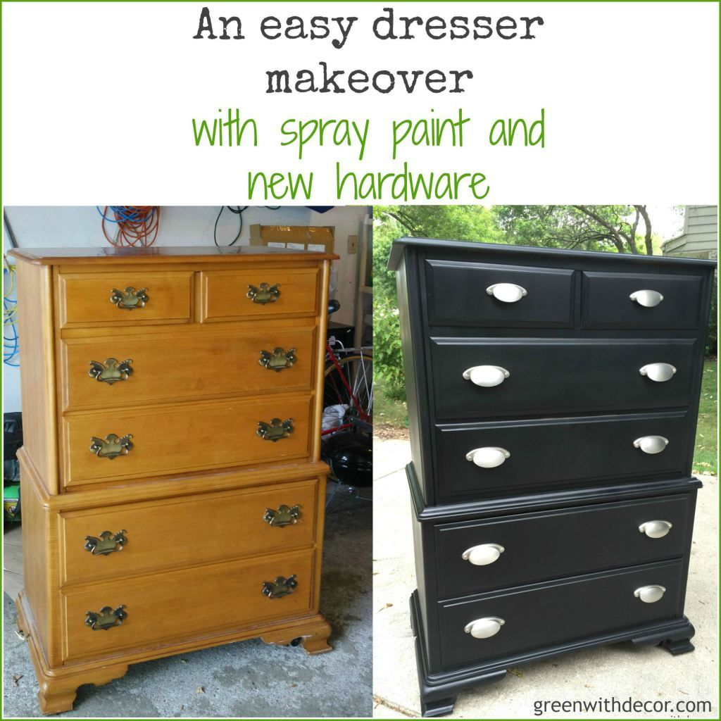 A Dresser Makeover With Spray Paint Painting Wood Furniture