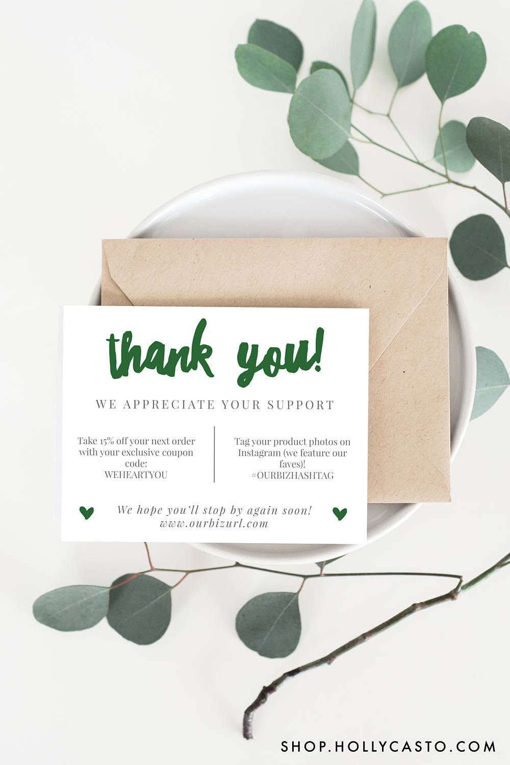 Printable Thank You Cards | Adelie, Emerald | Type fonts, Adobe and ...