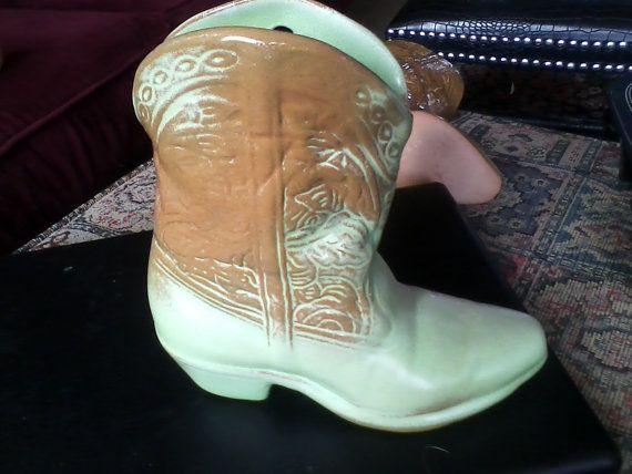 Prarie Green Frankoma Cowboy Boot Wall Pocket  Mid by LAMOREBOHEME, $15.00