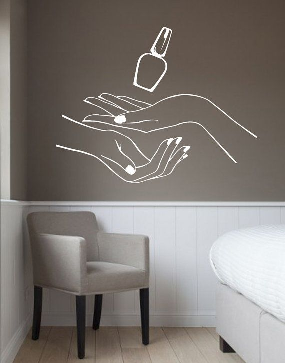 Items similar to Manicure Wall Decals Girl Hand Spa Decor Nails ...