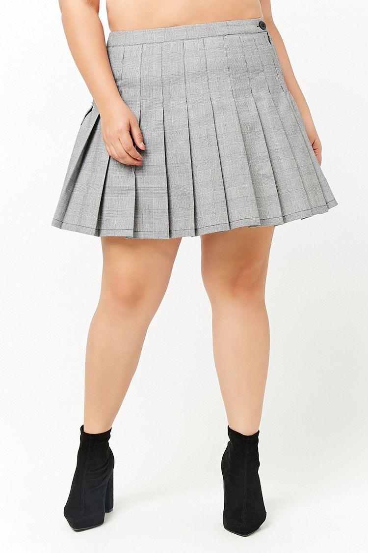 c5d44475e6 Plus Size Glen Plaid Pleated Mini Skirt | Skirts and Shorts | Plaid ...