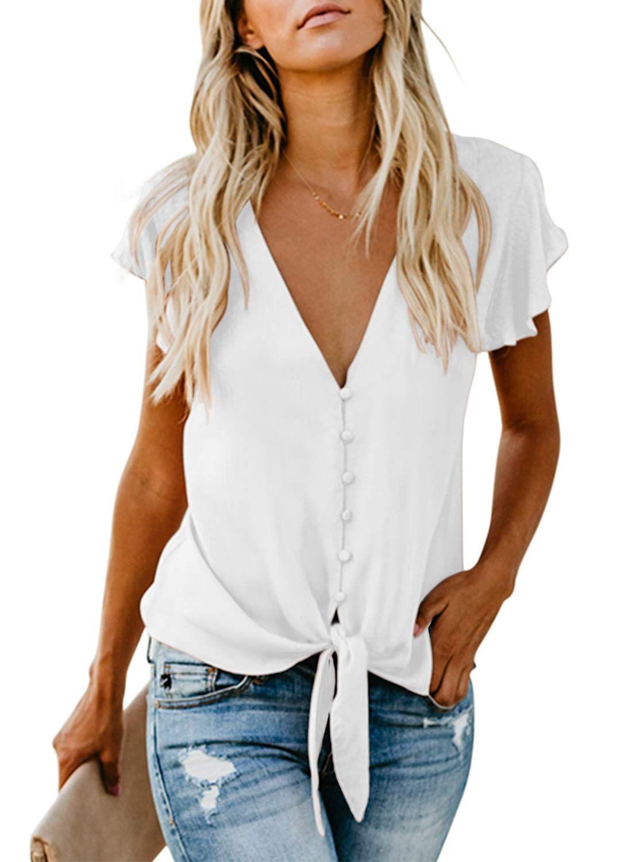 Asvivid Womens Button Down V-Neck Tops Bell Short Sleeve Tie Knot Chiffon Summer Shirt Blouses
