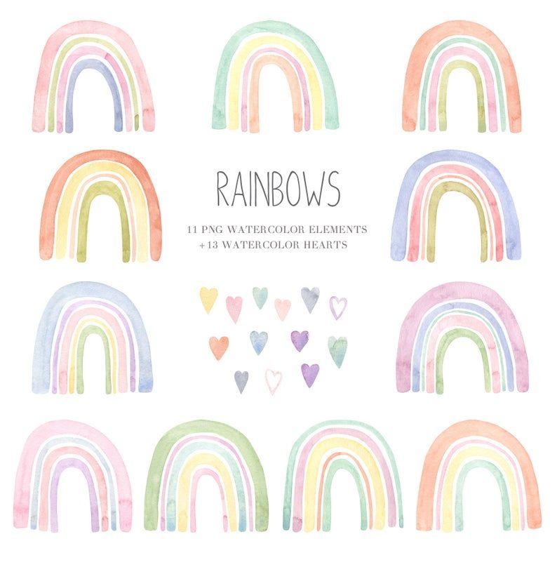 Rainbow Watercolor Clipart Boho Rainbow Print Baby Shower Clipart Rainbow Png Pastel Rainbow Party Invitation Rainbow Party Invitations Rainbow First Birthday Rainbow Theme Baby Shower