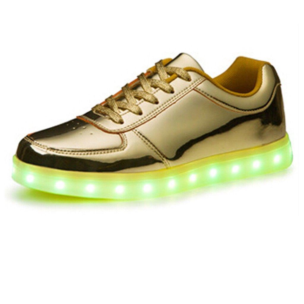 (Present:kleines Handtuch)Silber EU 38, 7 Farben JUNGLEST® USB Paare Ladegerät Schuhe Sports Trainer Luminous LED Schuhe Turnschuhe mo