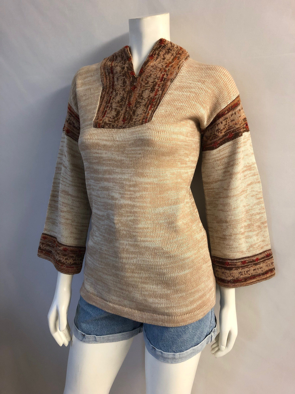 b521a831040622 Vintage Women's 70's Boho, Acrylic Sweater, Bell Sleeve by Kimlon (M) by  Freshandswanky on Etsy