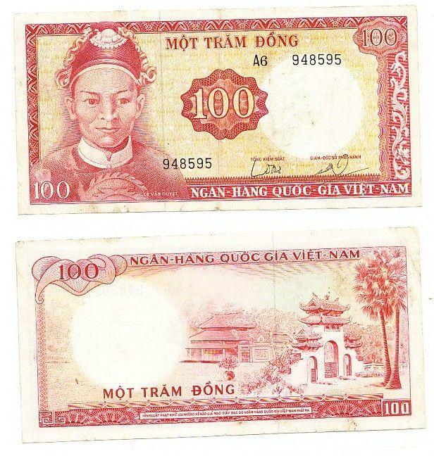 Original South Vietnam Viet Nam 1 Dong P-40 Banknotes A-UNC 1966 ND
