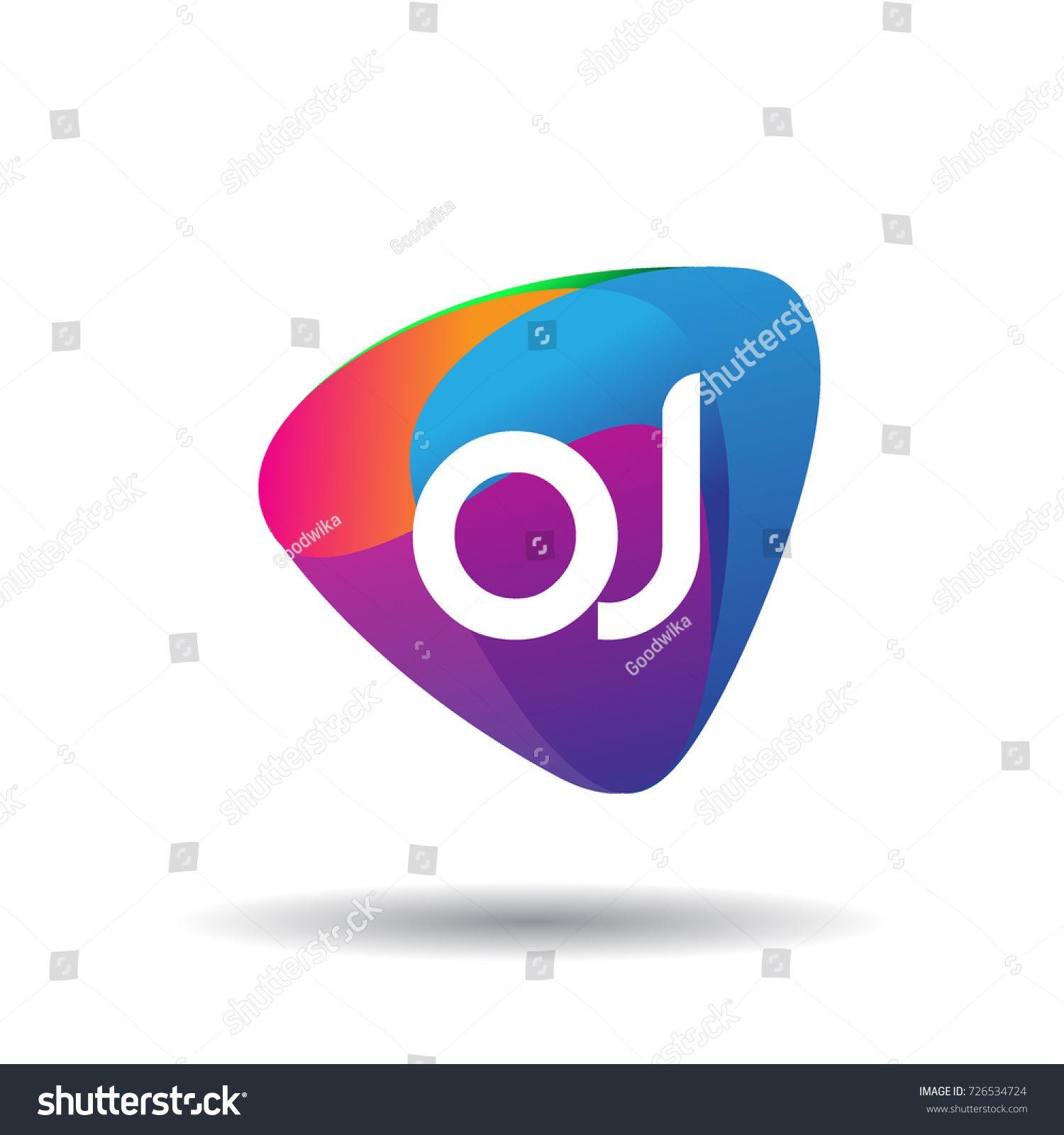 Letter Oj Logo With Colorful Splash Background Letter Combination