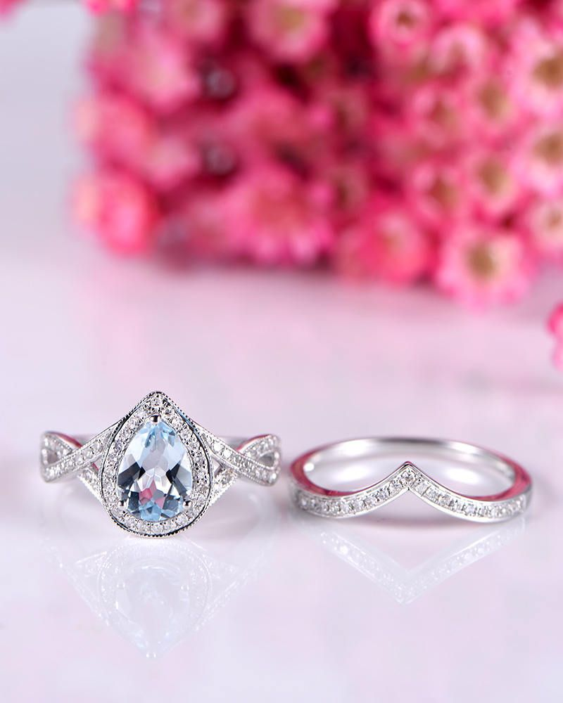 White gold aquamarine ring set natural aquamarine engagement ring ...