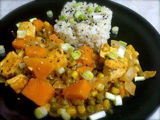 Veggie Muncher: Sweet potato and tofu curry with white ...