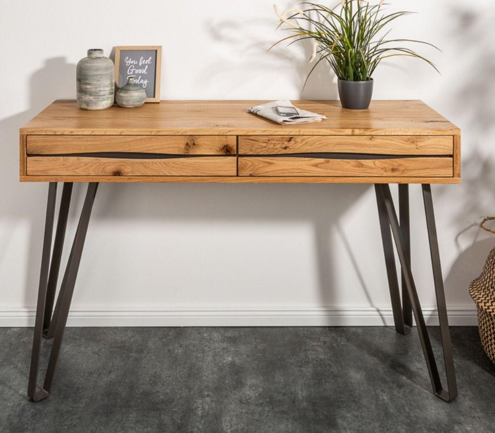 Massive Konsole Living Edge 120cm Wildeiche Geolt Baumkanten Schreibtisch Riess Ambiente De Industriedesign Tisch Tisch Inneneinrichtung