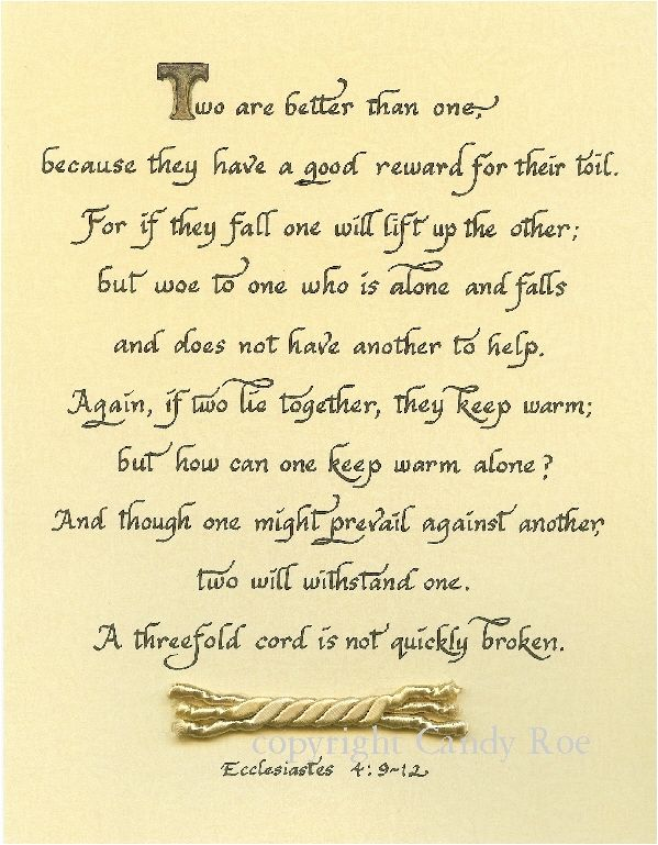 Ecclesiastes 4 9 12 Calligraphy By Candy Roe Wedding Readingswedding
