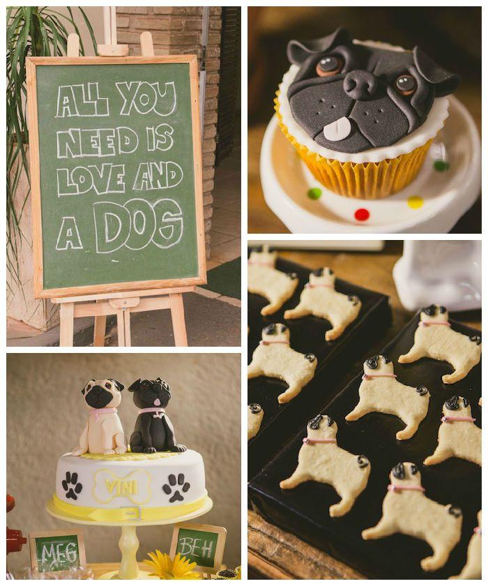 Pug Inspired Dog Party Dog Birthday Puppy Birthday Parties