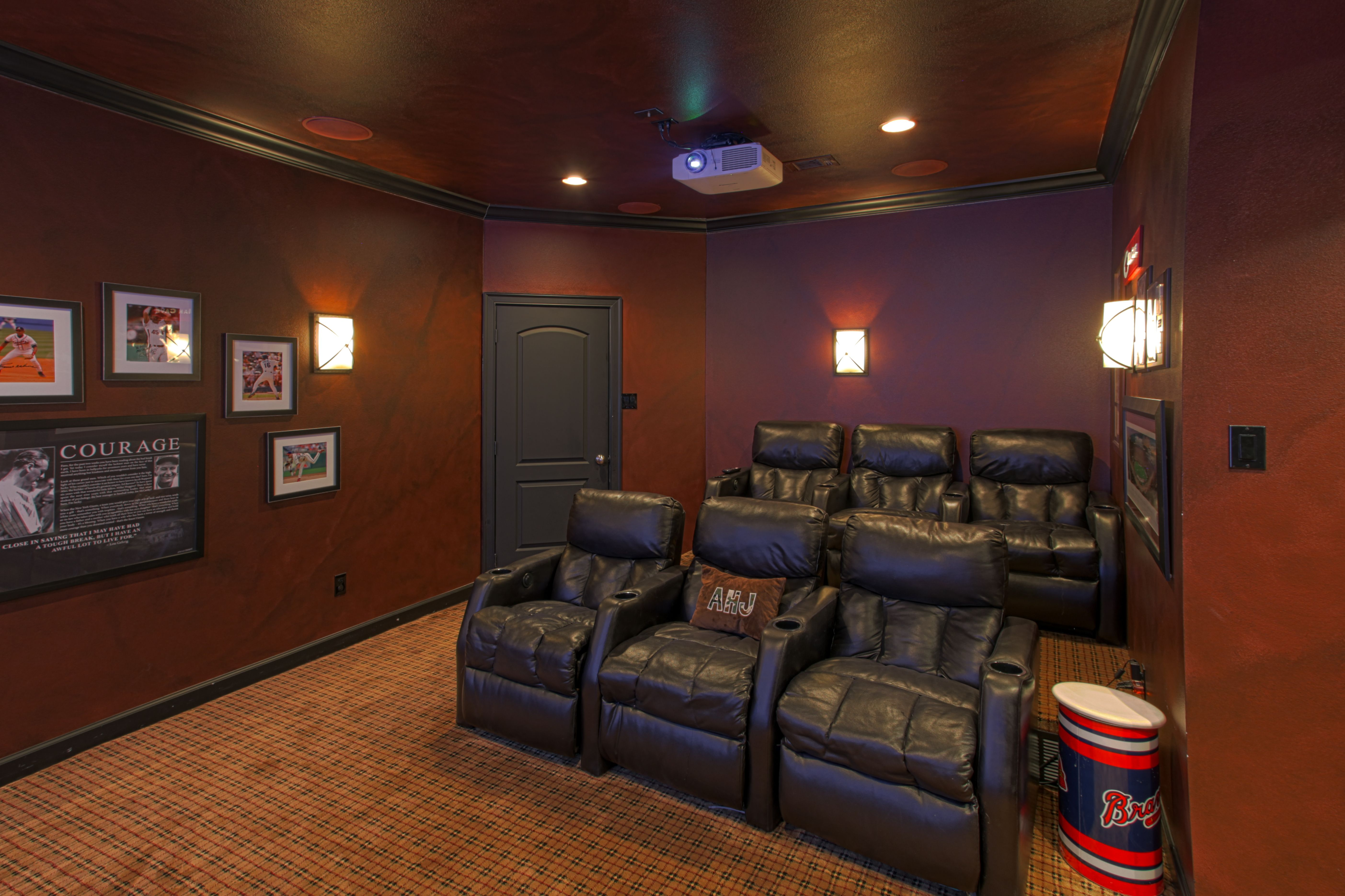 Man Cave With Projector : Man cave home theater hidden speakers seats