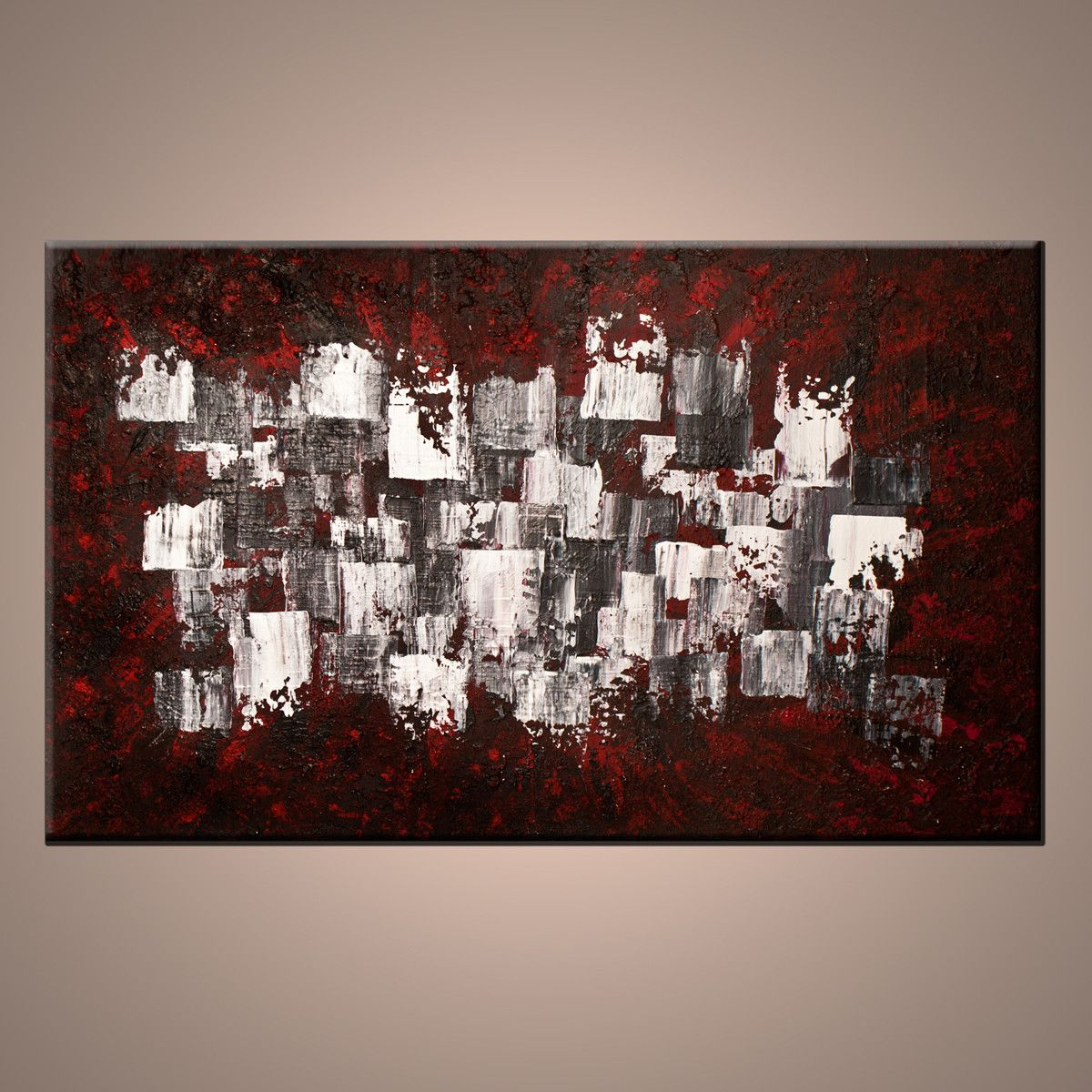 Modern Home Decor Red White Grey And Black Abstract Painting