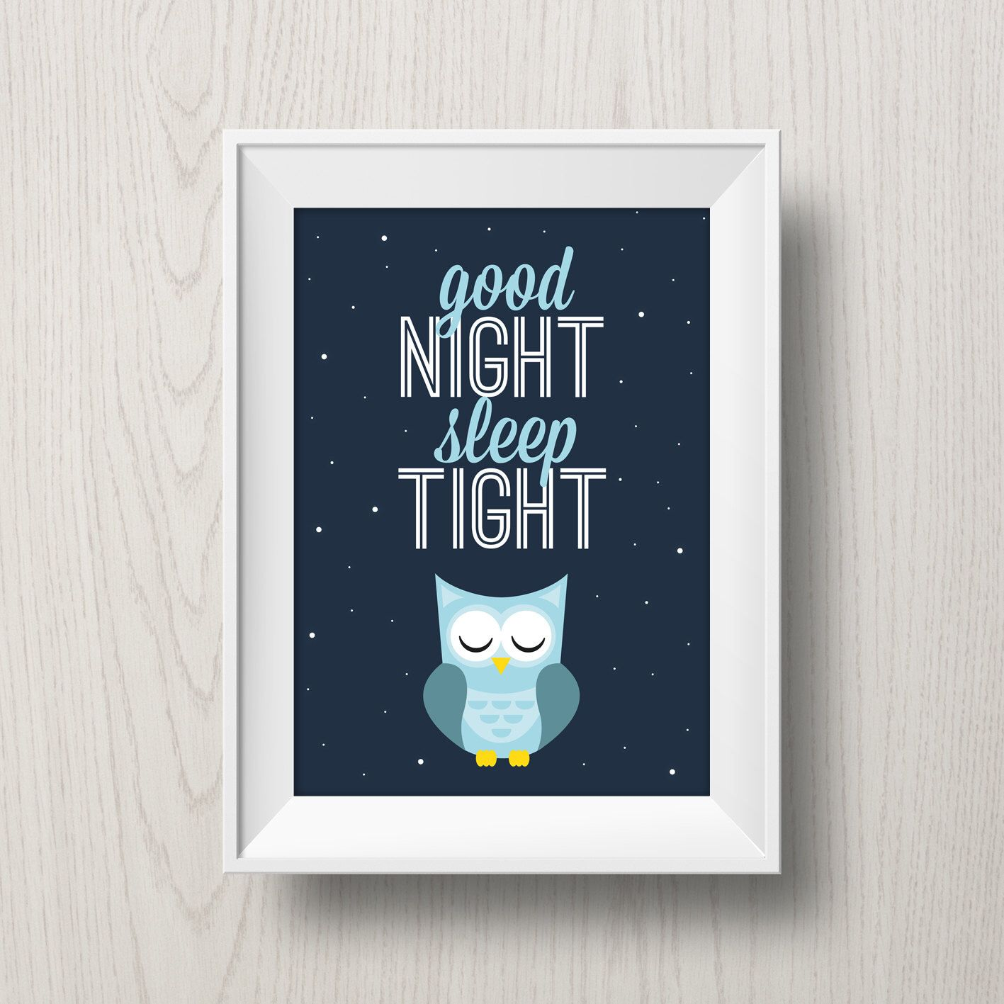 Printable Owl Poster Good Night, Sleep Tight Typographic Digital Art