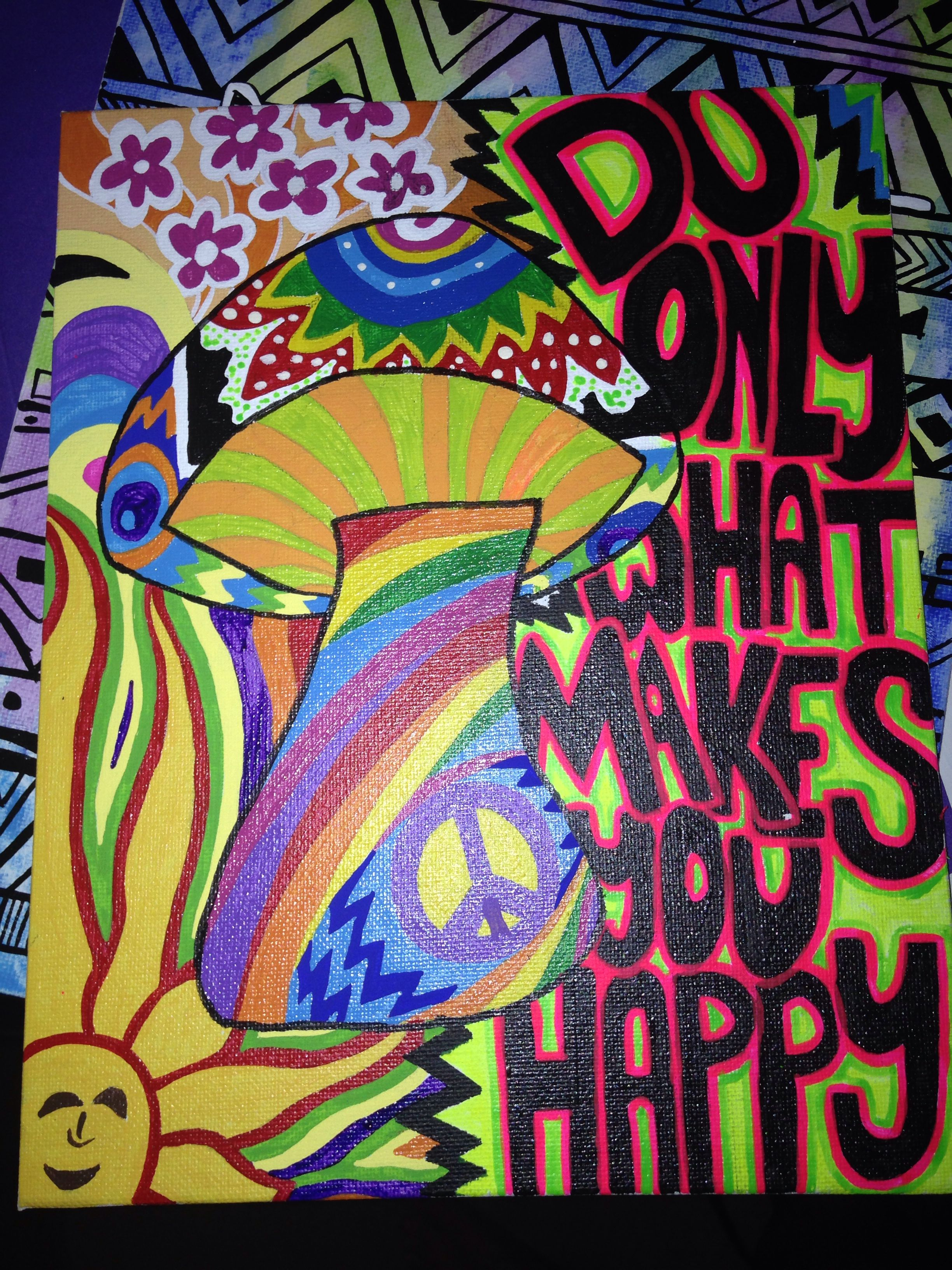 Psychedelic Peace Hippie art canvas painting, Hand painted
