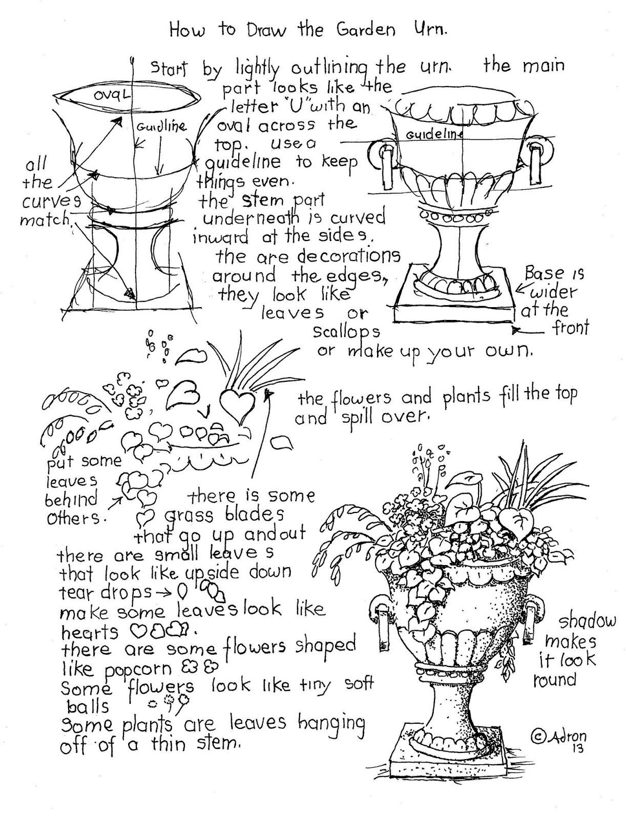 How To Draw The Garden Urn With Flower Worksheet