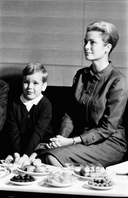 """princessgracekelly1956: """"Prince Albert of Monaco with his mother, Princess Grace, in Portugal, April 14, 1964 """"Of all her children, I think that Prince Albert is probably the one who is most like her...."""