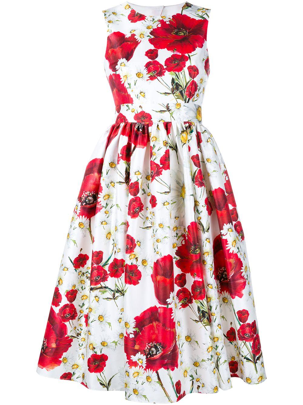 Sleeveless Floral Print Cotton-Silk Dress