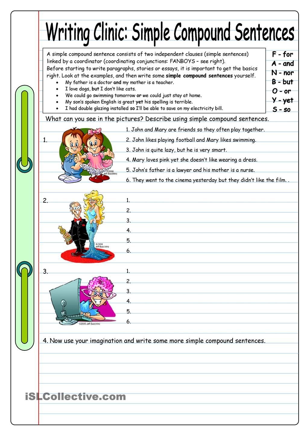 writing compound sentences In this lesson, we'll cover compound sentences and how to create them by joining two or more independent clauses together compound sentences.