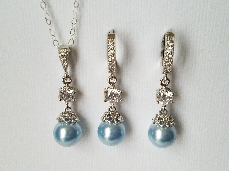 Blue Pearl Bridal Jewelry Set, Wedding Blue Silver