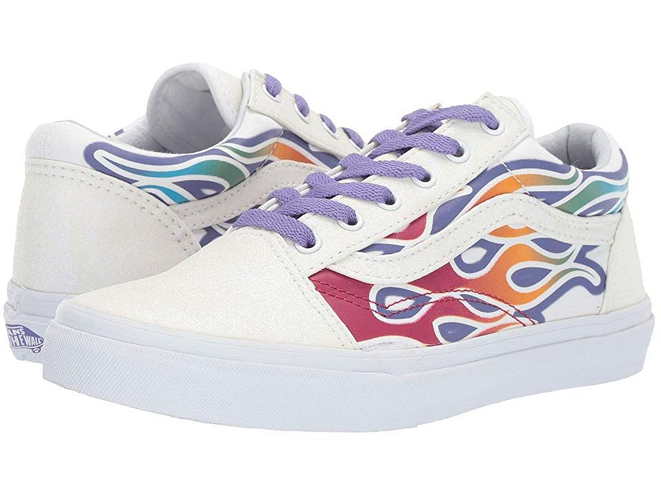 88077ccdc9e910 Vans Kids Old Skool (Little Kid Big Kid) ((Sparkle Flame) Rainbow True White)  Girls Shoes. A classic skate shoe with a touch of flair! Low-top silhouette.