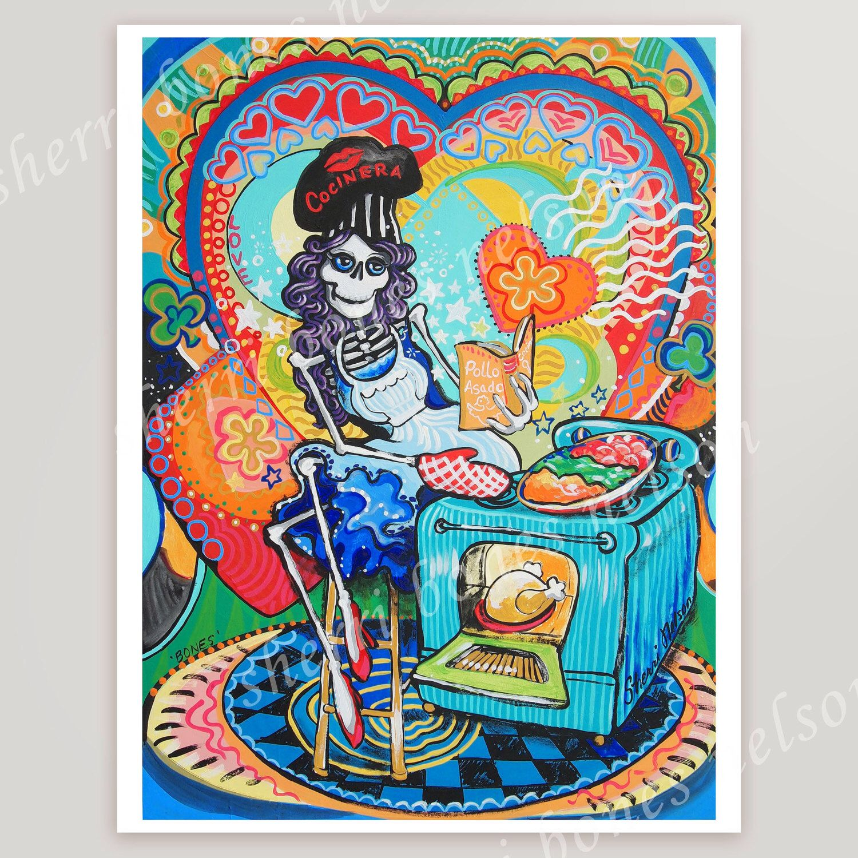 Wonderful Mexican Kitchen Catrina Art Print. Day Of The Dead Cook Wall Art. Cinco De