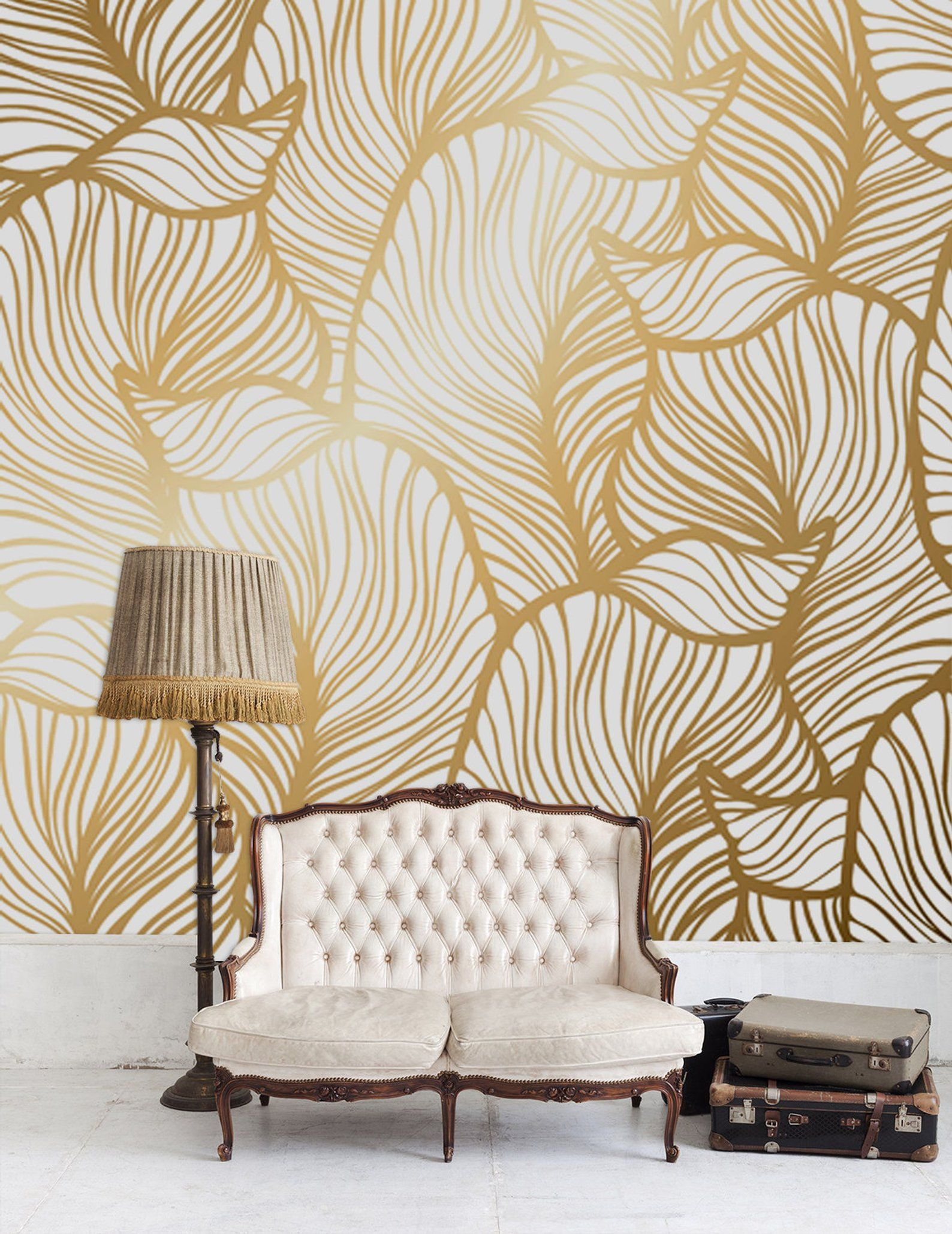 Leaf Wallpaper Print Painting Home Decor Wall Decal