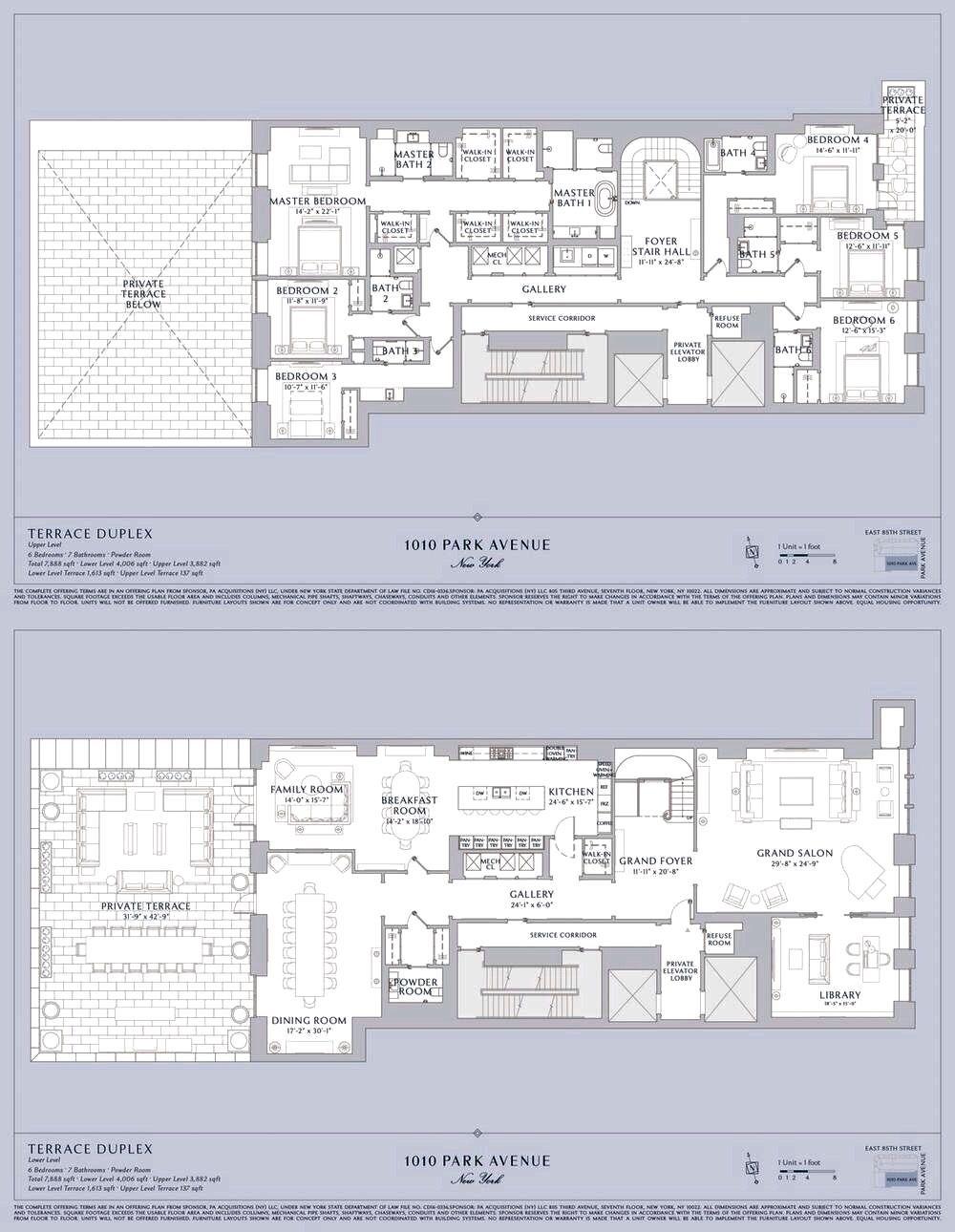 1010 Park Avenue The Terrace Duplex Asking 35 Million Duplex Floor Plans Model House Plan Apartment Floor Plans