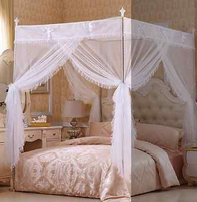4 corners no poles canopy bed curtain mosquito net full - King size canopy bed with curtains ...